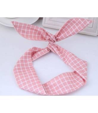 Bandeau fil de fer motif carreaux rose