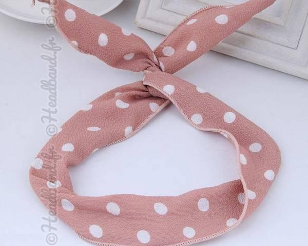 Bandeau bunny grands pois rose et blanc