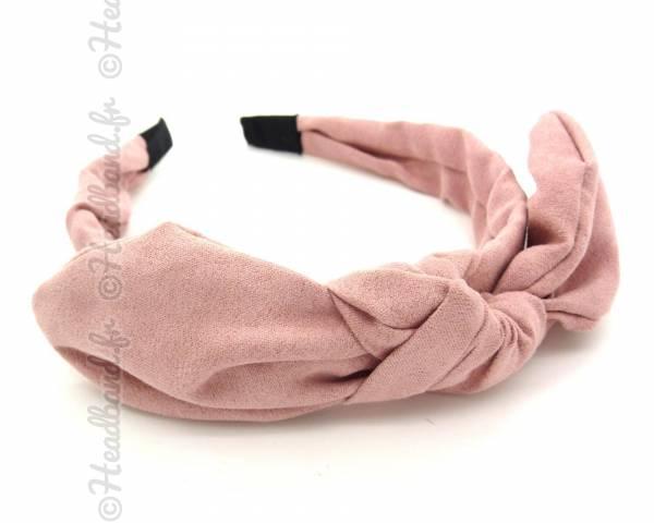 Serre-tête noeud suédine rose clair