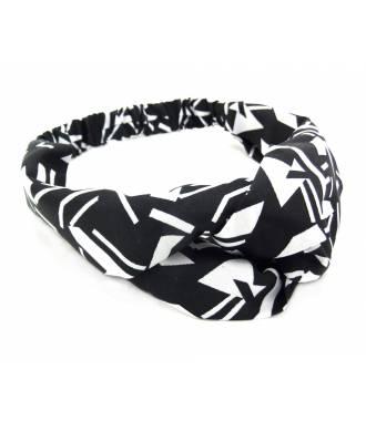 Turban croisé imprimé graphique blanc et noir