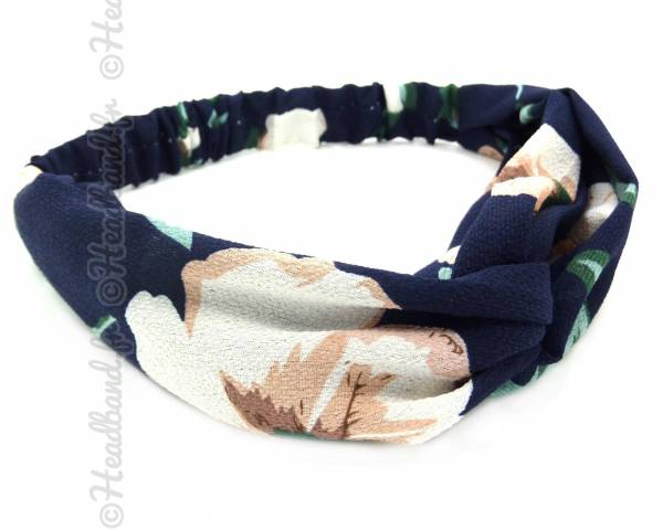 Turban croisé imprimé fleuri bleu marine