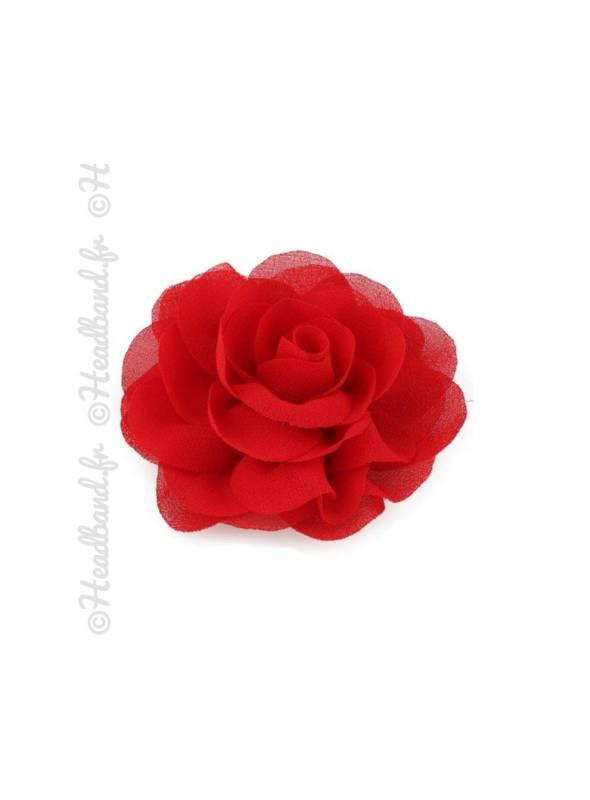 Pince fleur mousseline rouge