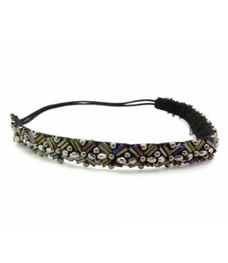 Headband perles hématite reflets bronze