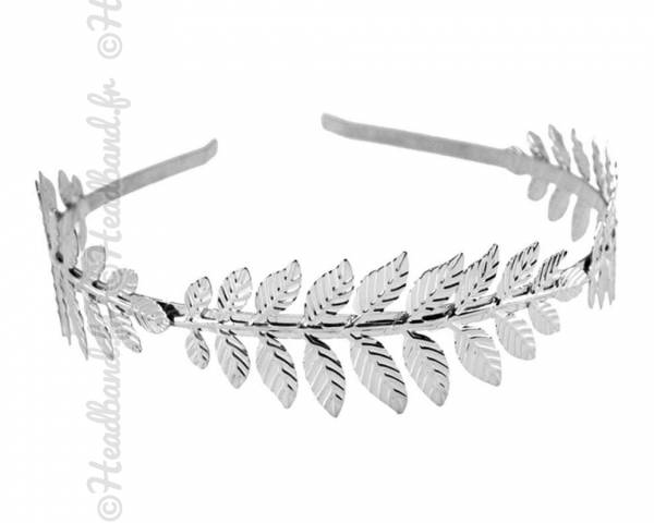 Serre-tête feuilles métal argenté