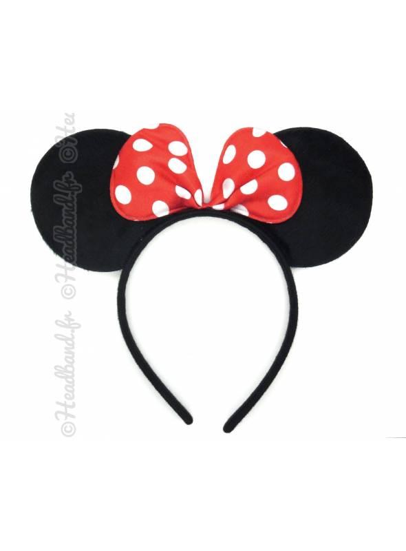 Serre-tête oreilles Minnie noeud pois rouge