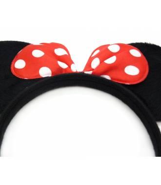 Serre-tête oreilles Minnie noeud pois rouge zoom