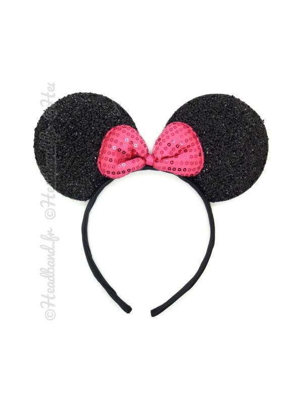 Serre-tête oreilles Minnie noeud sequins rose
