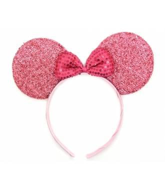 Serre-tête oreilles Minnie noeud sequins fushia