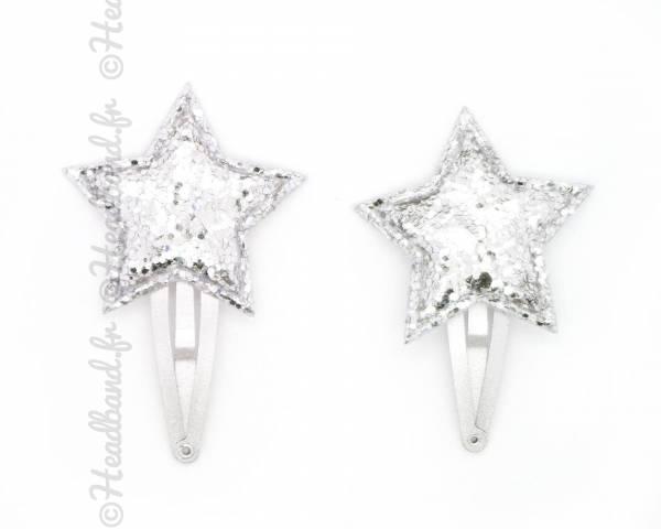 Paire de pinces clic-clac étoile argenté 4 cm