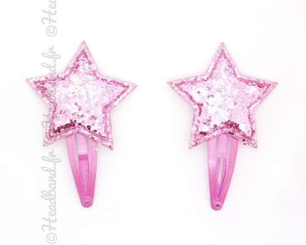 Paire de pinces clic-clac étoile glitter rose 4 cm