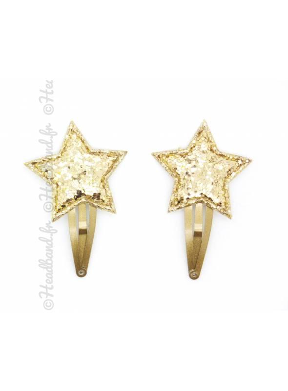 Paire de pinces clic-clac étoile glitter doré 4 cm