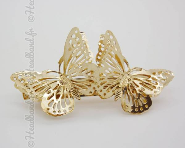 Barrette double papillon doré