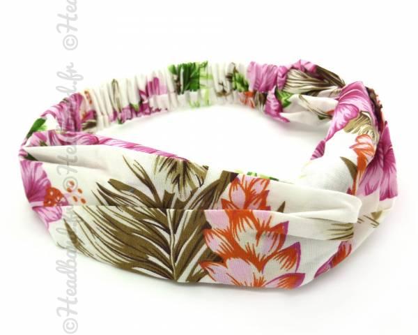 Turban cheveux imprimé tropical rose