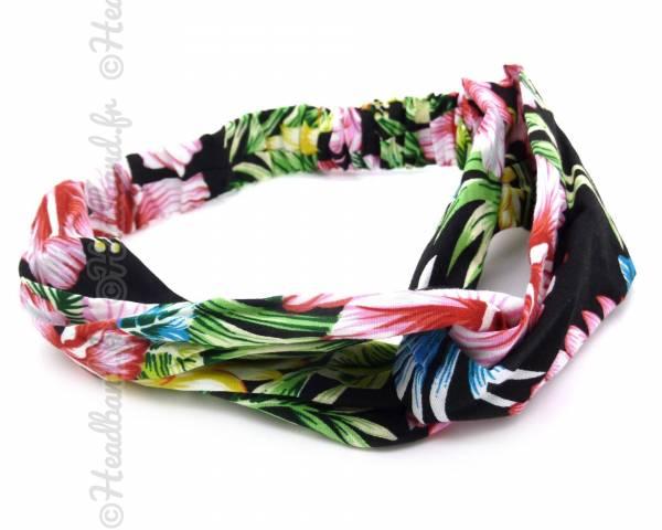 Turban cheveux imprimé tropical noir