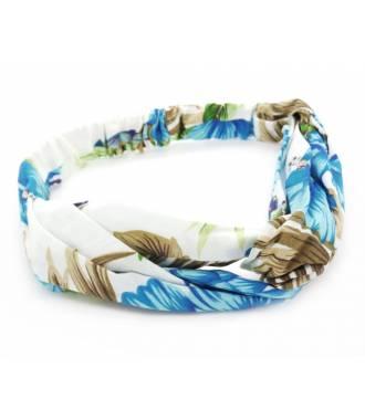Turban cheveux imprimé tropical bleu
