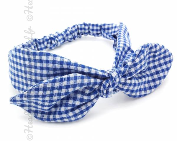 Bandeau noeud imprimé vichy bleu