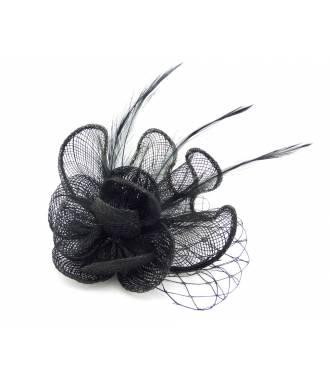 Pince cérémonie fleur sinamay voilette noir