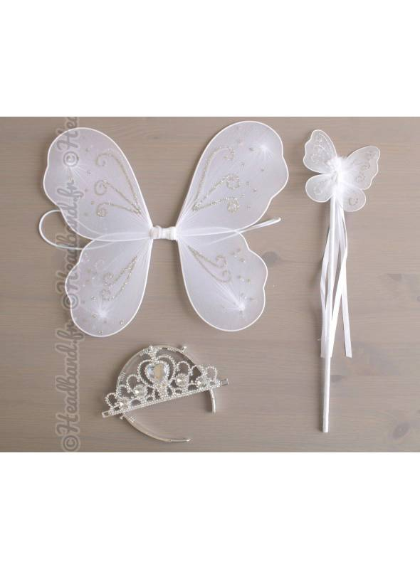Ailes papillon baguette et diadème fille blanc