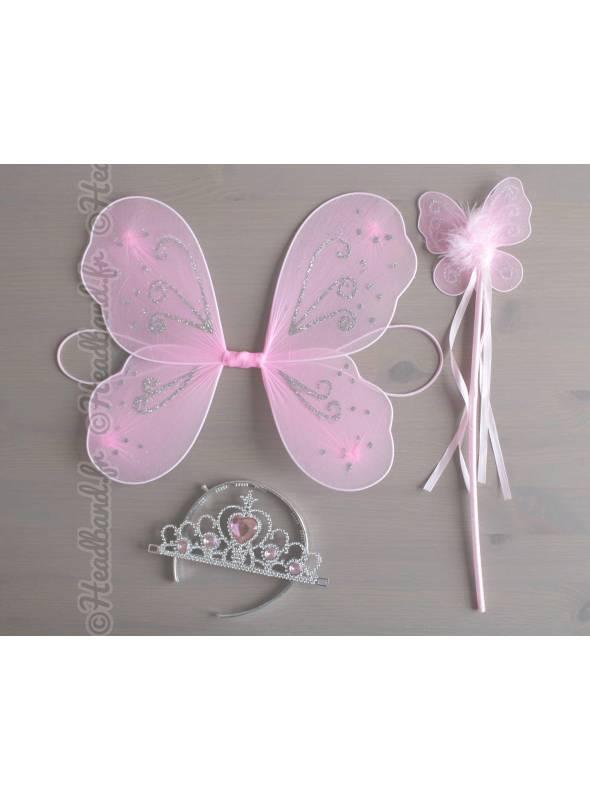 Ailes papillon baguette et diadème enfant rose