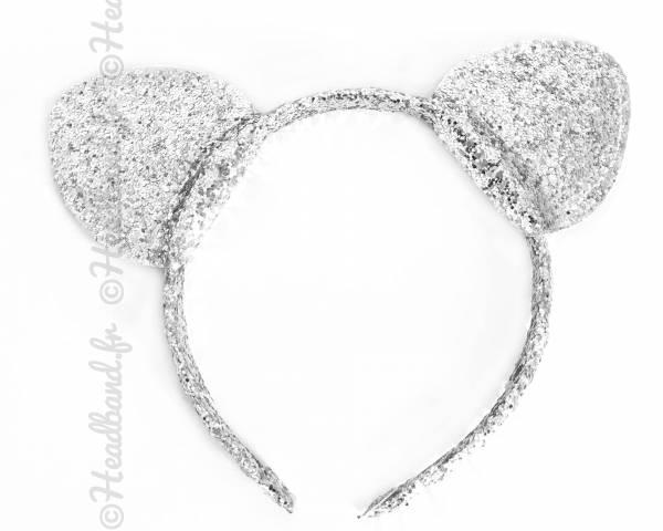 Serre-tête oreilles chat glitter argenté