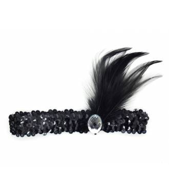 Headband charleston plumes noires à sequins