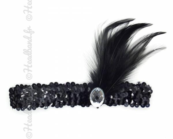 Headband charleston plumes noires à sequins