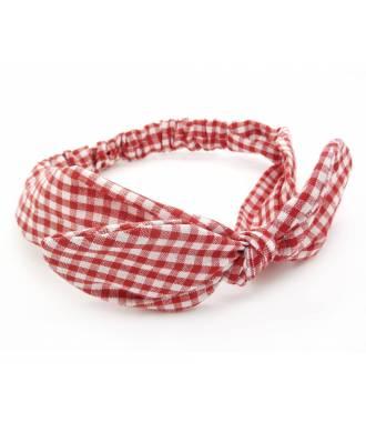 Bandeau noeud imprimé vichy rouge