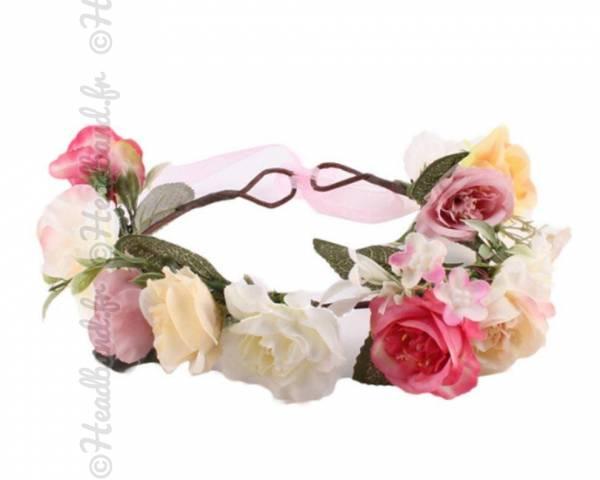 Couronne cheveux végétale rose et crème