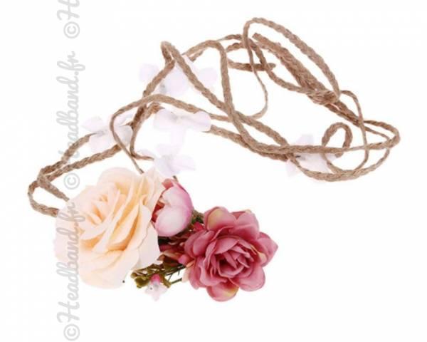 Headband tresse corde fleuri saumon