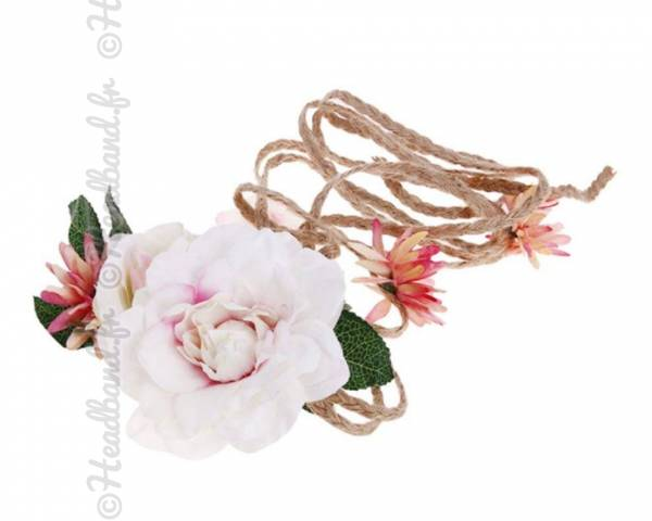 Headband tresse corde fleuri rose pâle