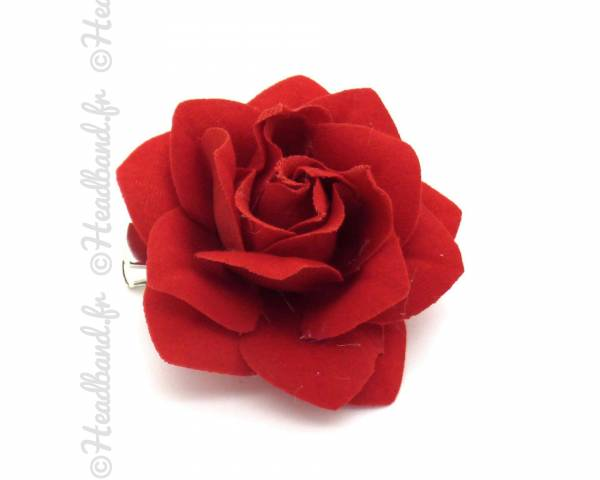 Barrette fleur glamour rouge