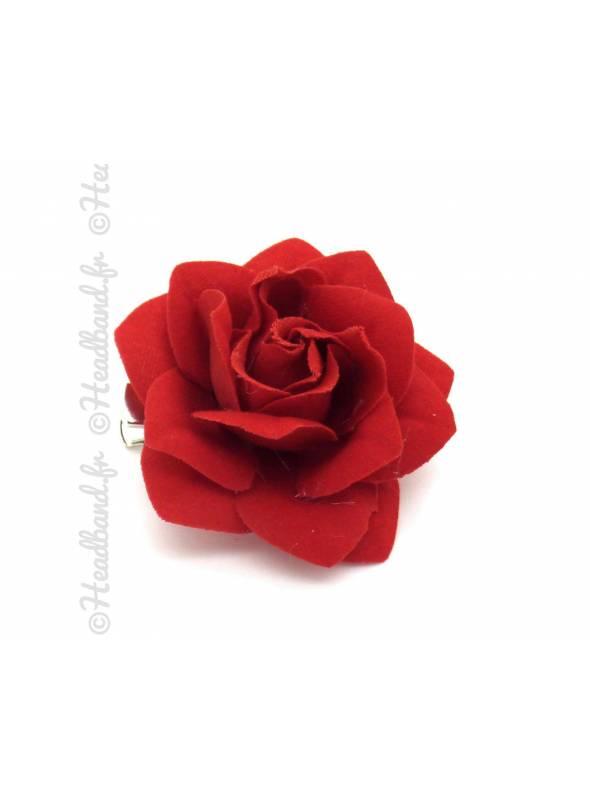 Barrette fleur tissus rouge