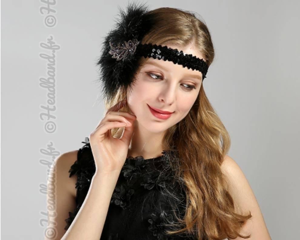 Bandeau plumes et perles style ann es 20 - Bandeau annee 20 ...