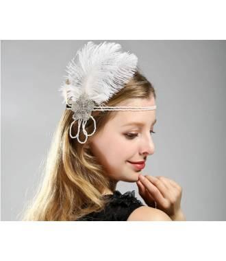 Headband style vintage blanc à plumes