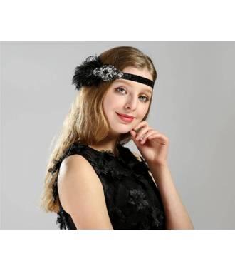 Headband rétro à plumes et cristaux
