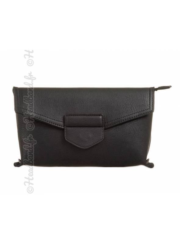 Petit sac simili cuir noir bandoulière amovible