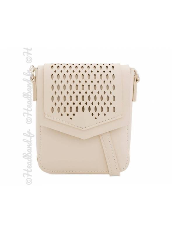 Mini-sac besace simili cuir ajouré beige