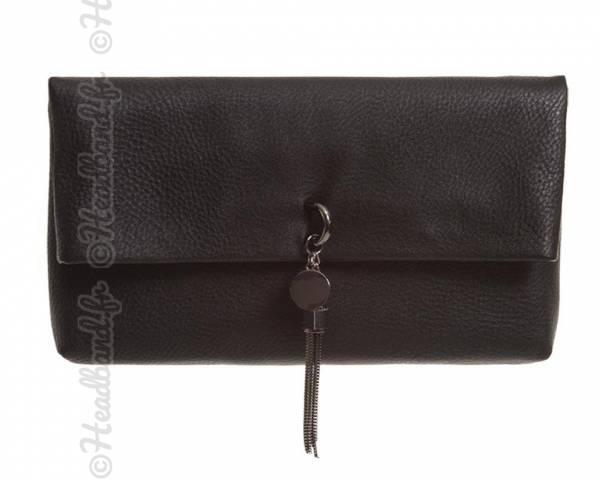 Petit sac noir avec pompon chaîne