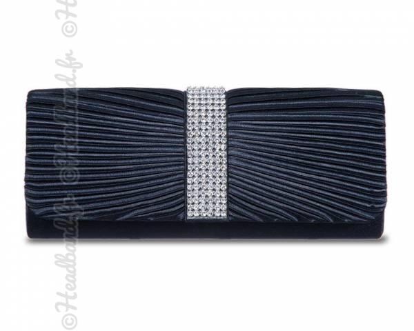 Pochette cérémonie satin rangée de strass bleu