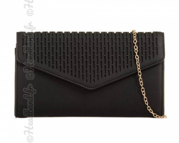 Pochette soirée rabat enveloppe ajouré cuir noir