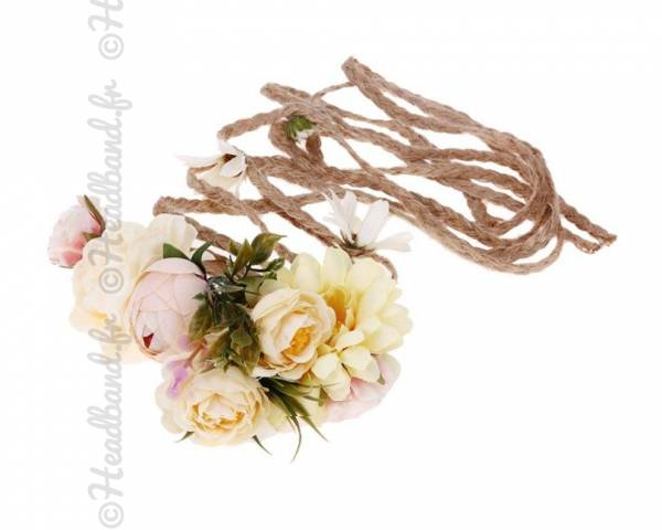 Headband tresse corde fleuri jaune