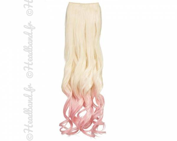 Extension ondulée ombré-hair platine rose pastel