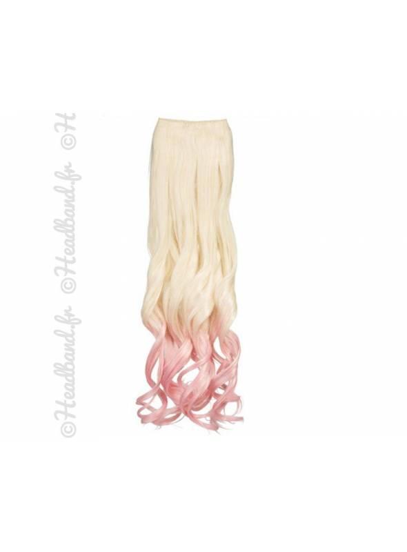 Extension ondulée ombré-hair platine rose pastel