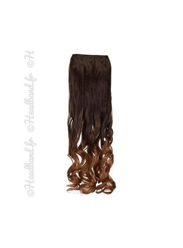 Extension ondulée ombré-hair châtain chocolat à roux