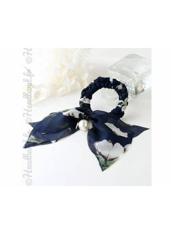 Chouchou mousseline fleuri et perle bleu