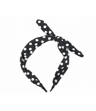Serre-tête imprimé pois noeud noir et blanc