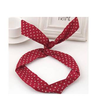 Headband fil de fer rockabilly rouge à pois