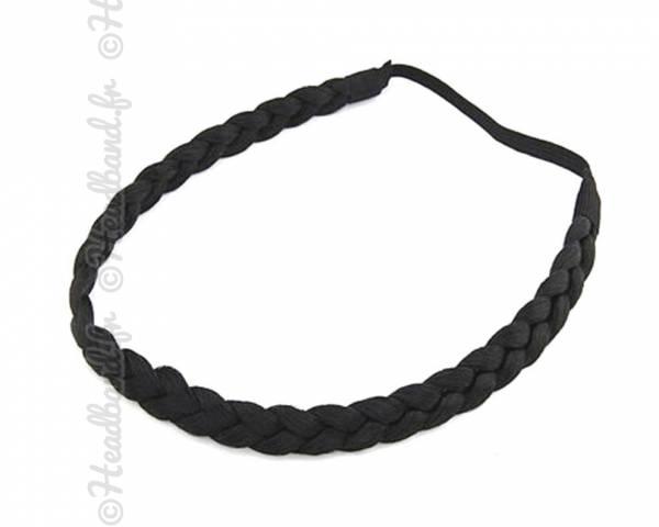Headband fine tresse cheveux noir