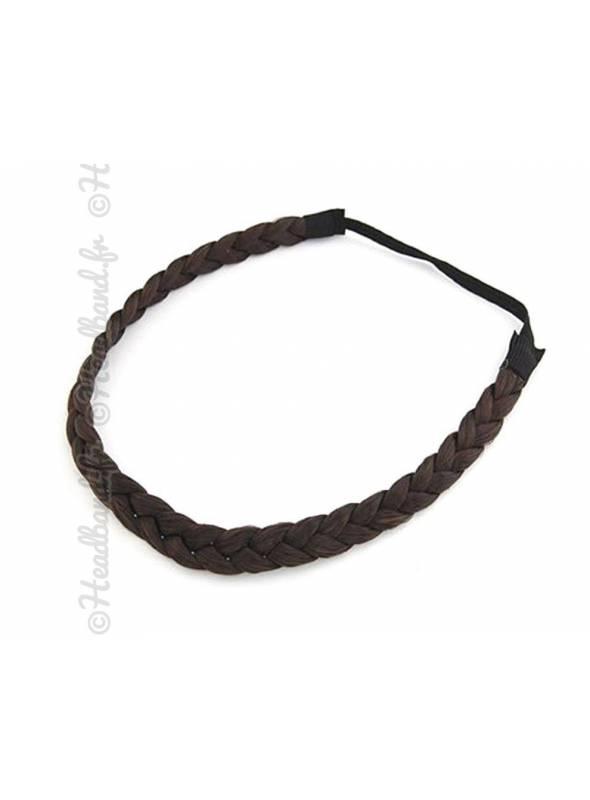 Headband fine tresse cheveux châtain foncé
