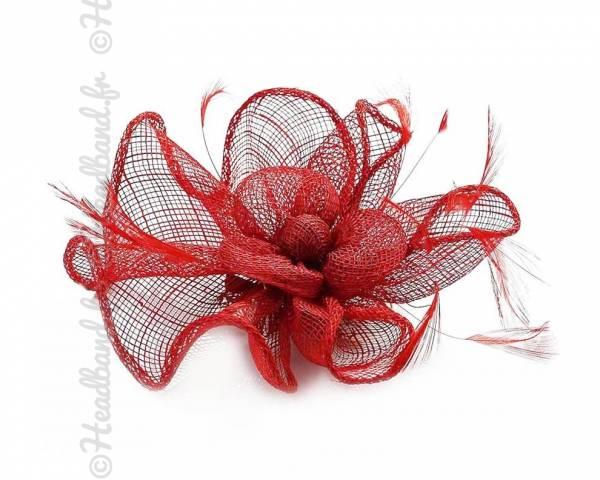 Barrette sisal fleur rouge
